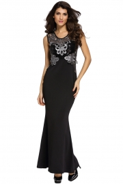 Black Lace Applique Sequin Mermaid Maxi Dress