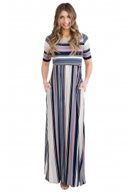 Muted Multicolor Striped Half Sleeve Casual Maxi Dress