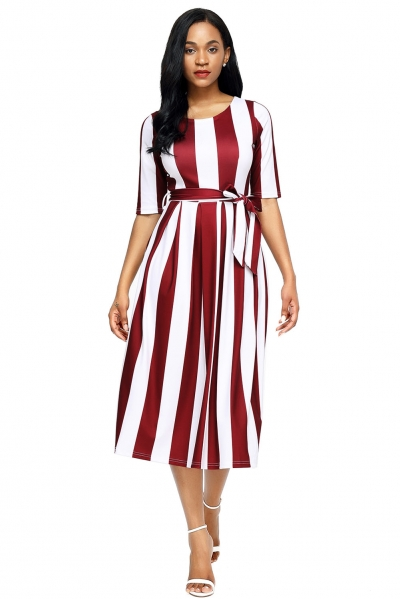 Wine Stripe Print Half Sleeve Belted Dress