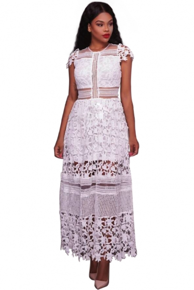 White Lace Hollow Out Long Party Dress
