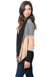 Black Shawl Neck Colorblock Long Sleeve Cardigan