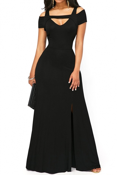 Black Cold Shoulder Front Slit Flare Maxi Dress ZEKELA.com