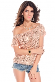 Seductive Off-shoulder Glistening Sequin Top Pink