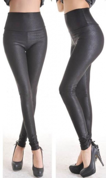 Fashion Deep Black Faux Leather Leggings
