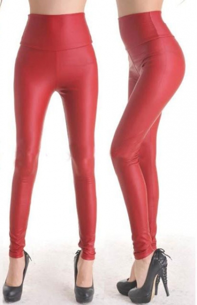 Fashion Red Faux Leather Leggings