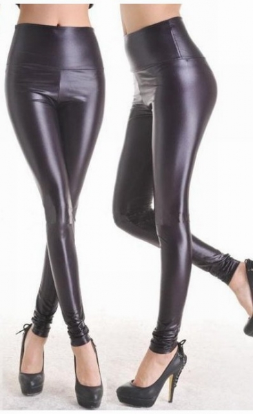 Fashion Black Faux Leather Leggings