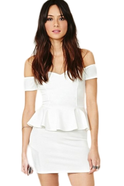 Alluring Off-the-shoulder Peplum Dress in White