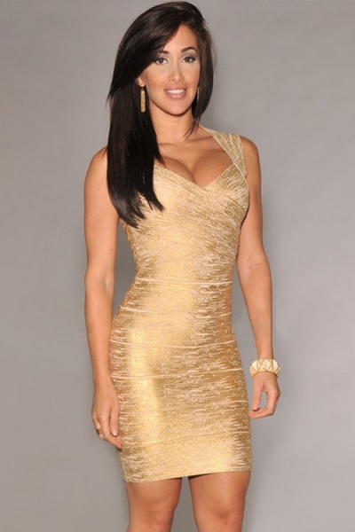 New Fashion Gold Foil Print Bandage Dress Celebrity Style
