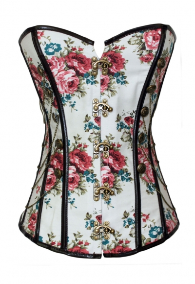 Floral Thumbnail Stud Military Inspired Corset