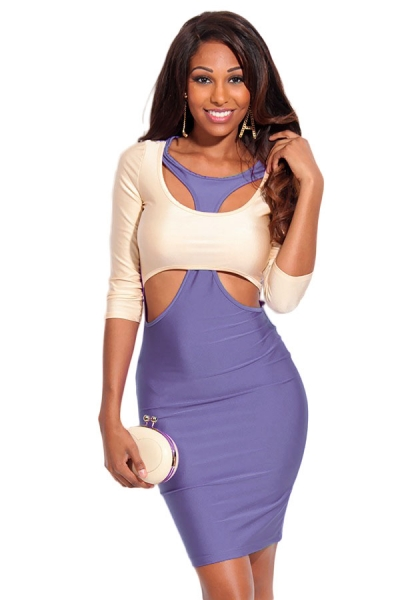 Purple Beige Two Tone Cut out 3/4 Sleeves Bodycon Dress