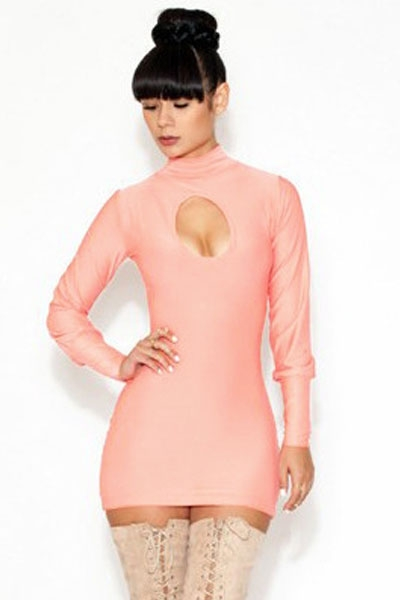Ruddy Pink High Neck Hollow out Mini Dress