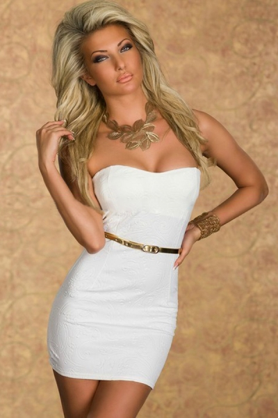 White Sexy Jacquard Tube Cocktail Party Mini Vintage Dress