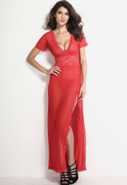 Plus Size Red Mesh and Lace V Neck Lingerie Gown