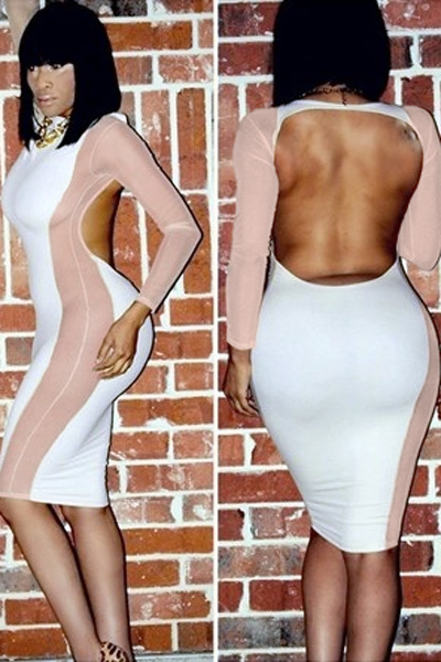 White Mesh Stitching Curvaceous Midi Dress