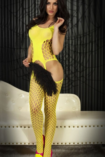 Yellow Bold Cutout Pothole Body Stocking