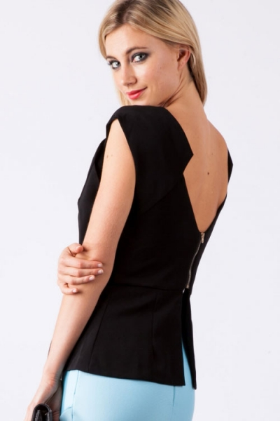 Womanly Black Zipped Back Top with Peplum Detail
