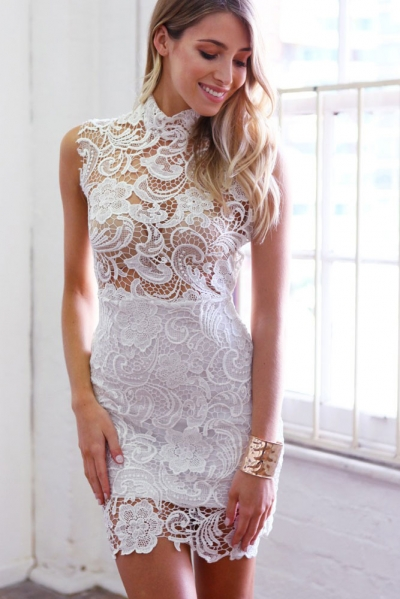 Lace Hollow-out Mini Vintage Dress
