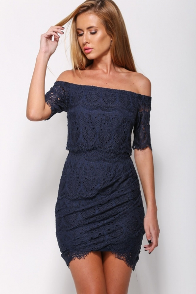 Navy Lace Tunic Off-shoulder Mini Dress