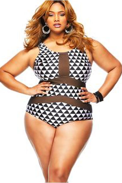 Plus Size Mesh Insert Trigon Print Teddy Swimsuit