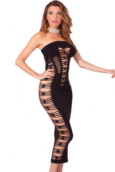 Big Spender Long Black Tube Dress