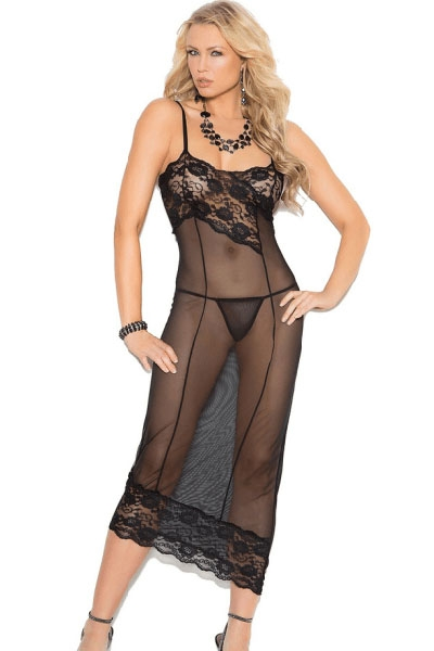 Sexy Lace Decorate Mesh Gown