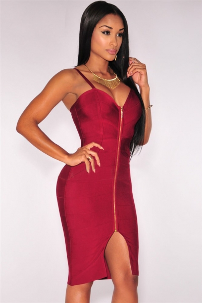Wine Zipper Hourglass Bandage Dress
