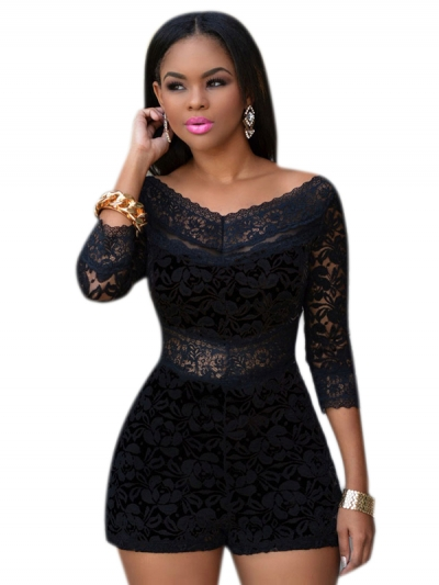 Black Lace Overlay Off-shoulder Romper