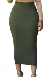 Solid Green High-waisted Bodycon Maxi Skirt