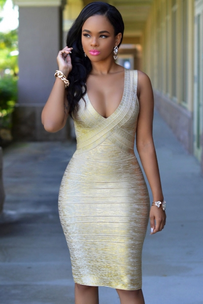Gold Foil Midi Luxe Bandage Dress