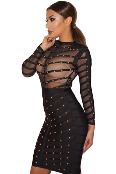 Black Studded Mesh Bandage Dress