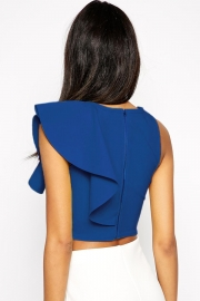 Royal Blue One-shoulder Ruffle Crop Top