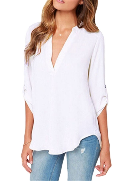 White V Neck Loose Fitting Chiffon Blouse