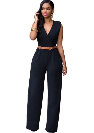 Black V Neck Belt Embellished Jumpsuit