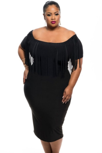 Black Short Sleeve Fringe Top Plus Size Dress