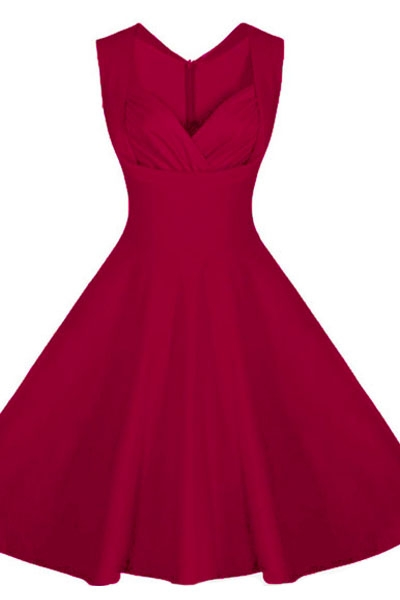 Burgandy Sweetheart Neck Retro Collared Skater Dress