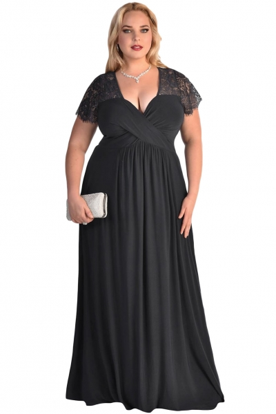 Black Lace Yoke Ruched Twist High Waist Plus Size Gown