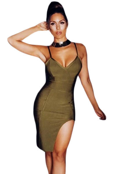 Army Green Slit Thigh Bandage Dress
