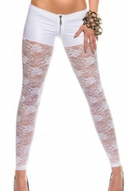 White Metallic Shorts Attached Sexy Lace Leggings