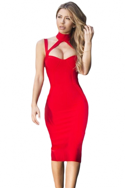 Red High Neck Hollow-out Bandage Dress