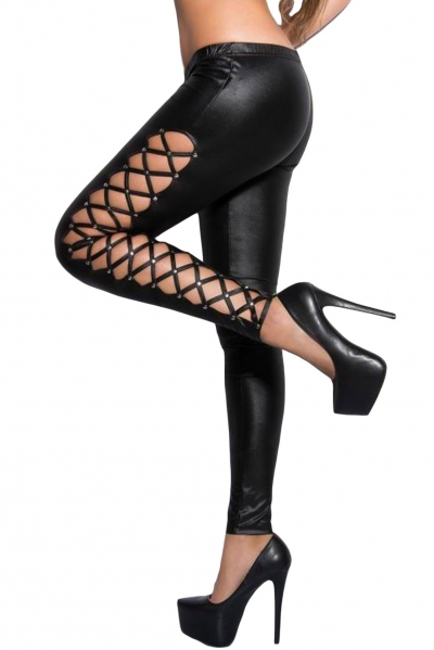 Stylish Lacing Sides Black Wet Look Leggings