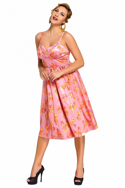Pink Pin-up Digital Floral Swing Vintage Dress