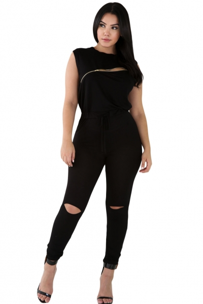 Creative Zip Line Black Stretchy Jumpsuit