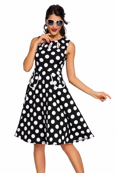 Black Polka Dot Bohemain Print Dress with Keyholes