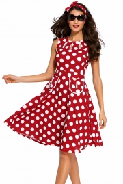 Red Polka Dot Bohemain Print Dress with Keyholes