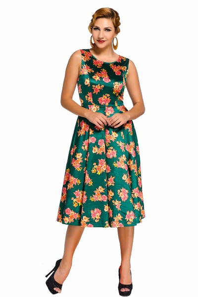 Green Digital Floral Vintage Swing Dress
