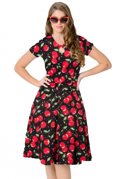 1950s Style Cherry Short Sleeves Swing Dress