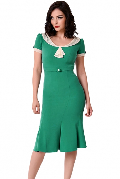 Stop Staring Green Ivory Vintage Party Dress