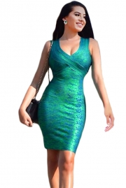 Green Gold Foil Midi Luxe Bandage Dress