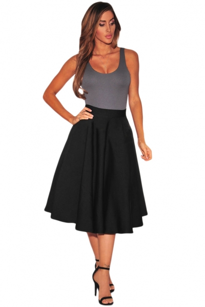 Black Flared A-Line Midi Skirt