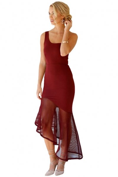 Burgundy Asymmetrical Fishtail Semi-sheer Hem Maxi Dress